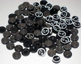 100 Assorted Black Plastic  Vintage Bingo Numbers  for Altered Art, Crafts, Collage, etc.