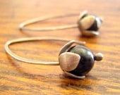 Silver flower earrings. Sterling silver lilac earrings with black tourmaline.