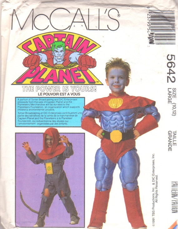 1990s Captain Planet and Verminous Skumm costume pattern - McCall's 5642