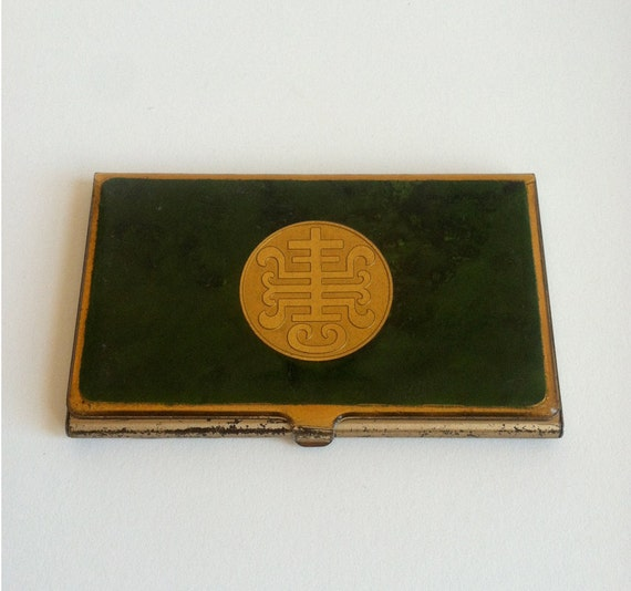 Vintage Metal Business or Calling Card Case - Green, Gold Chinoiserie Motif (Asian)