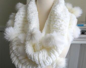Faux Fur Pompom Cowl--Magician's Dove
