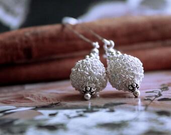 Crochet Sterling Silver Earrings