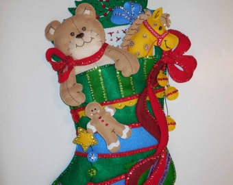 Finished Christmas Stocking-Wall Hanging - Christmas Delights - SALE