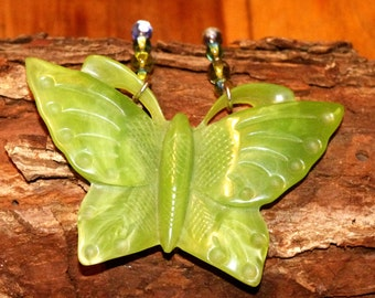 Chartruse carved Butterfly Necklace 20's 30's art deco repo bakelite big statement 1920's 1930's