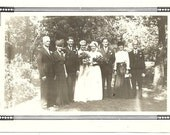 Double Wedding Vintage Photo 2 Brides 2 Grooms And Family Edwardian Snapshot Photograph