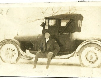 1921 Vintage Photograph Gentleman In Hat On Running Board Of Antique Car In Snow Winter Photo