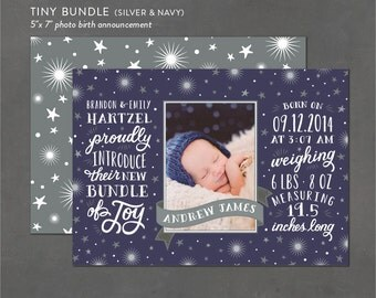 Printable Birth Announcement, Newborn Photo Card, Printable Custom Announcements, Digital File, DIY Printables