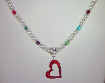 Swarovski Pearl and Crystal Jewelry - Mother or Grandmother Necklace - Up to 10 Birthstones - Sterling Silver and Crystal Heart