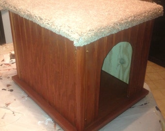 Cat House / Bed / Perch - Choice of 14 Finishes - 100% Wood - HANDMADE in USA - Shown with Cherry Finish