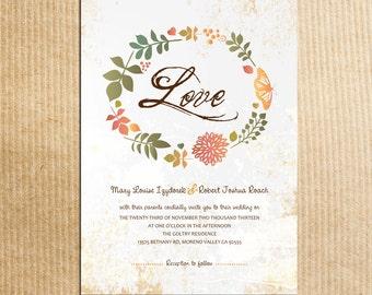 Rustic foilage wreath Autumn/Fall wedding - Stationery by razzledazzledesign on Etsy