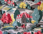 Vintage Bark Cloth, Just Under 1 Yard of Vintage Midcentury Colonial Farm Scene Bark Cloth in Bright Pinkish Mauves, Greens, Yellow and Grey