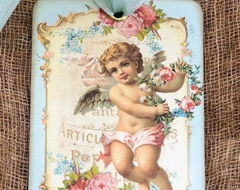 French Angel Floral Gift or Scrapbook Tags or Magnet #473