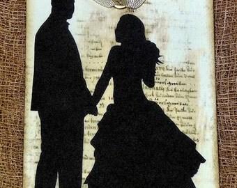 Bride Groom Silhouette Wedding Tags #335
