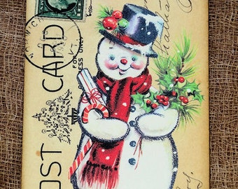 Retro Jolly Snowman Tags #713