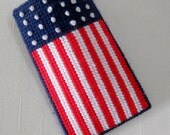 Handmade Glasses Case – Patriotic – Plastic Canvas - FREE US SHIPPING