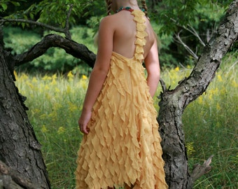 Unique yellow ruffle dress with hand beaded color of colorful frogs