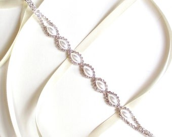 Marquise Pearl Bridal Headband - Pearls - White or Ivory Satin Ribbon - Silver and Pearl