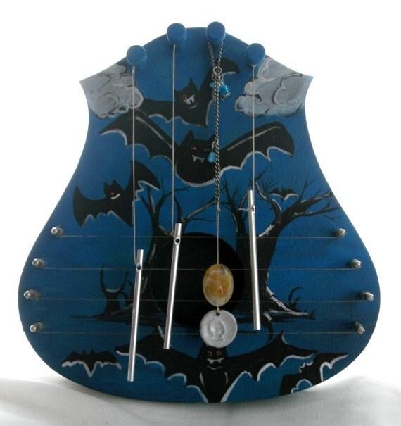 Halloween Door harp wall harp bat theme decoration gothic