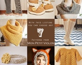 You choose any 7 patterns (crochet and knitting patterns)