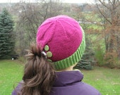 Ponytail Hat Pink Green Knit  Pony Tail Hat - Women Teen Girls Youth -  MADE TO ORDER