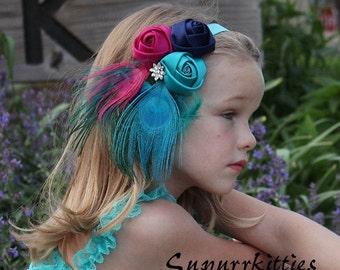 Jewel Tone Baby Headband - Teal/Wine Rosette flower Headband - Peacock Feather Headband Bow Toddler/Girl Fascinator Photo Prop Pageant