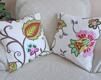 Set of Two - Girl's Bedroom Decor, Pink Pillow Covers, Decorative Floral Cushion Covers, Decorator Pillow Covers, Spring Decor - 16 x 16
