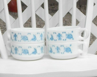 Blue and White Soup Mug Bowl with Handle Stacking Set of Four Milk Glass Sail Boat Village Design Vintage