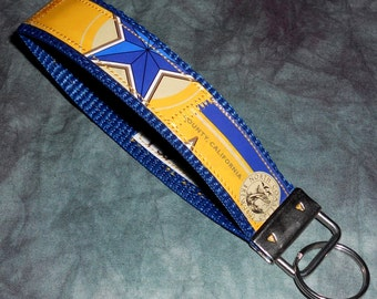 Wristlet KeyChain from Recycled North Coast Brewing Blue Star Wheat Beer Labels