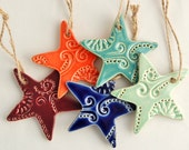 Mini Star Ornaments - Set of Three (3) - Ceramic Stoneware Pottery - Purple. Orange. Teal. Blue. Green. Red. Black.