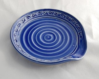 Spoon Rest in Royal Blue - Stoneware Ceramic Pottery