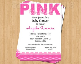 Tickled Pink Sweet Baby Shower Invitations JPEG Cute Unique Adorable