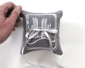 Snow Skis Wedding Ring Bearer Pillow 4 x 4 inches - Choose your fabric and ink color