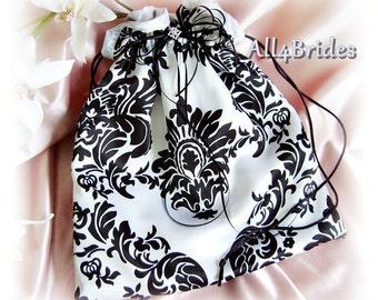 Damask weddings bridal drawstring bag.  Black and white wedding dance bag.
