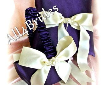 Lapis Wedding ring bearer pillow and flower girl basket, deep purple wedding decorations