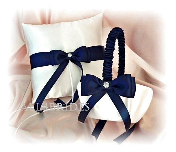 Navy Blue Wedding Decorations Pillow and Basket Set, Flower Girl Basket and Ring Bearer Pillow