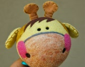 Needle Felted Wool Giraffe Rattle Made to Order