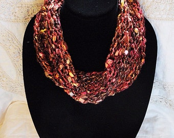 Ultra Soft Infinity Scarf, Necklace, multi-textured, shades of Rust, brown,gold