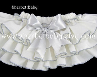 Handmade Ivory Cream with Silver Gray Sassy Pants Ruffled Bloomer Diaper Cover with Bow Baby Girl Toddler