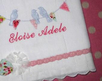 Birds on a Banner Burp Cloth