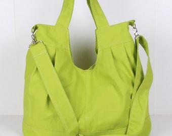 Messenger Bag, Shoulder Bag,Tote Bag, Green canvas with Cream lining ,adjustable strap