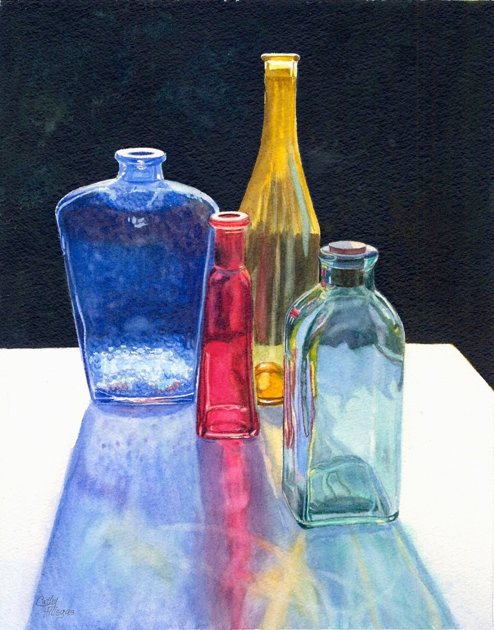 glass bottles art original watercolor painting by cathy