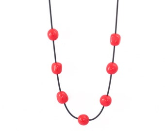 red necklace chunky beads, rubber jewelry