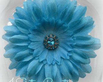 Turquoise Artificial Daisy with Turquoise Rhinestone Center