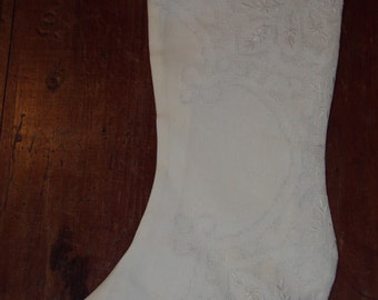 White Lace Victorian Christmas Stocking 2