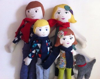 Custom Cloth Doll Family of Four 4
