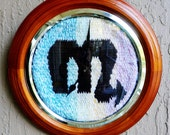 Wall Decoration...Zodiac Time...Graphic Sign of Scorpio...Hand Woven and Set in Frame...Mock Clock