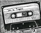 Mix Tape, Original Block Print
