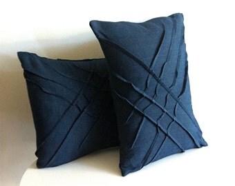 x-pleat accent pillow - midnight blue linen textured pillow