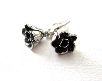 Dark Rose Earrings, Minimalist Jewelry, Oxidized Black, Sterling Silver Earrings