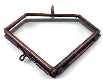 6 Gemstone Jewel Glass Locket Pendants, , G2331